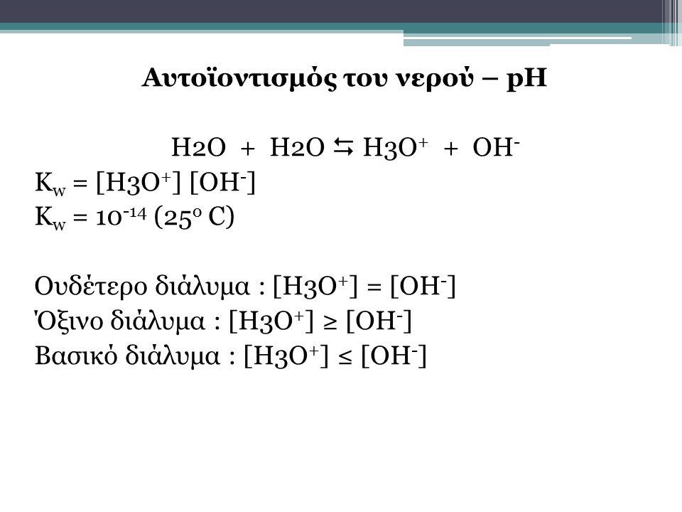Αυτοϊοντισμός του νερού – pH H2O + H2O  H3O+ + OH- Kw = [H3O+] [OH-] Kw = 10-14 (25o C) Ουδέτερο διάλυμα : [Η3Ο+] = [ΟΗ-] Όξινο διάλυμα : [Η3Ο+] ≥ [ΟΗ-] Βασικό διάλυμα : [Η3Ο+] ≤ [ΟΗ-]